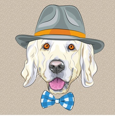 Hipster dog Golden Retriever vector