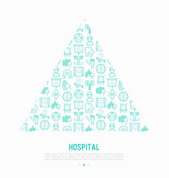 Hospital concept in triangle with thin line icons vector