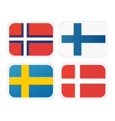icons of scandinavian flags isolated on white vector image