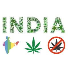 India text collage of marijuana vector