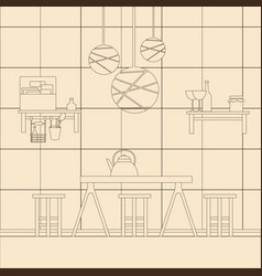 kitchen interior design template for business vector image