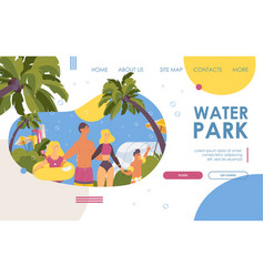 Landing page happy family at water park flat vector