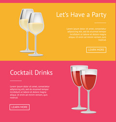 lets have party cocktail drinks set web posters vector image