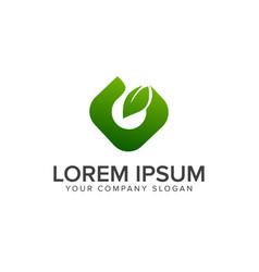 letter g leaf green logo design concept template vector image