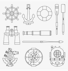 Line marine icons set nautical design elements vector