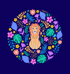 Lion and tropical flowers vector
