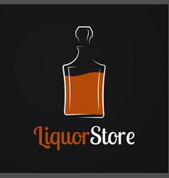 Liquor store logo whiskey bottle or decanter vector