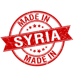 Made in syria red round vintage stamp vector