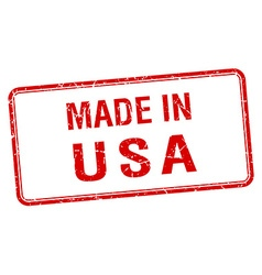 Made in usa red square isolated stamp vector