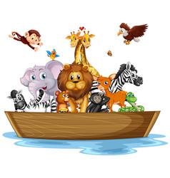 Many wild animals on rowboat vector