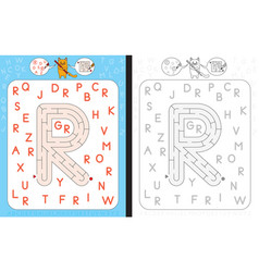 Maze letter r vector