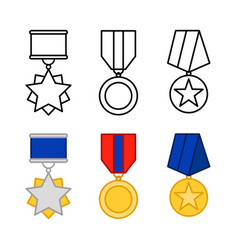 medals set awards isolated on white vector image