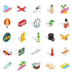 Memorial place icons set isometric style vector