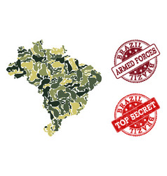 military camouflage composition of map of brazil vector image