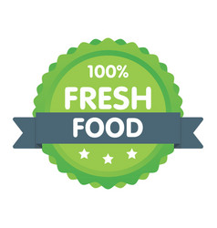 Modern green eco badge 100 percent fresh food vector