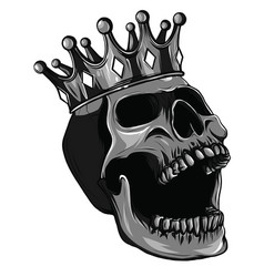 monochromatic skull with crown on white vector image