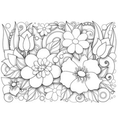 Monochrome floral in doodle style vector