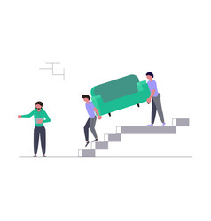 movers carring a sofa and cardboard boxes vector image