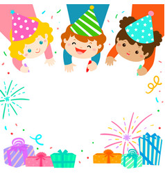 Multicultural cute kids draw invitation for kids vector
