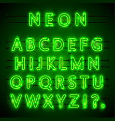 neon font city neon green font eps lamp green vector image