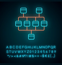 Network diagram neon light icon cluster diagram vector