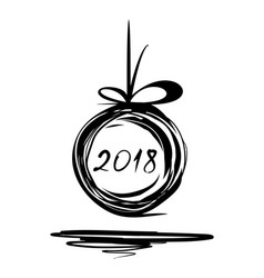 new year 2018 doodle design vector image