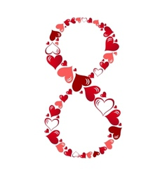 Number of hearts vector image