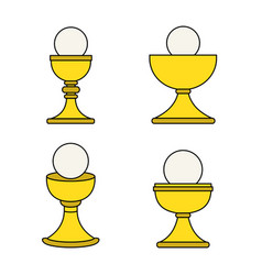 outline christian chalice icon set vector image