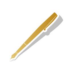 pen sign golden gradient vector image