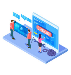 people and app interfaces isometric concept vector image