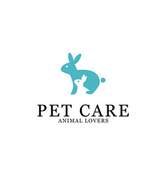 pet care logo designs creative rabbit logo vector image