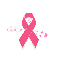 pink ribbon breast cancer awareness with vector image