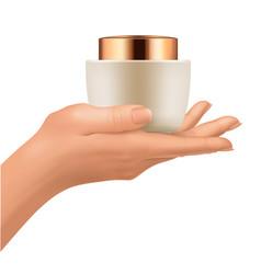 plastic jar on hand vector image