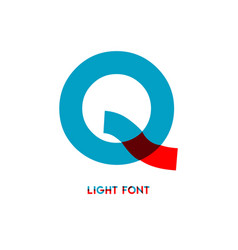 Q light font template design vector