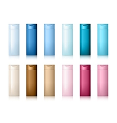 Realistic Cosmetic bottle can shampoo container vector