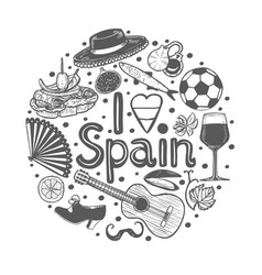 round composition with spanish symbols in hand vector image