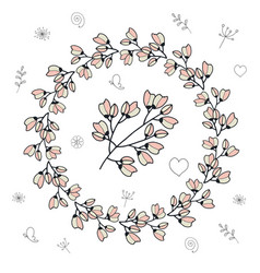 round frame with cherry buds and flowers vector image