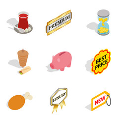 Sale of meat icons set isometric style vector