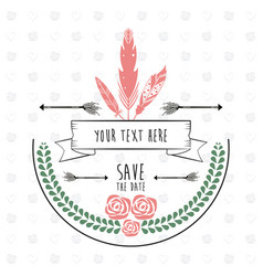 save the date rustic floral frame feather vector image vector image