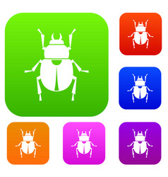 scarab set color collection vector image