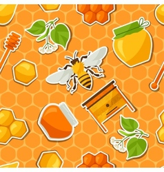 Seamless pattern with honey and bee stickers vector