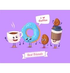 set breakfast characters cute cartoons vector image