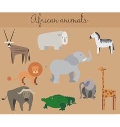 set cute cartoon african animals vector image