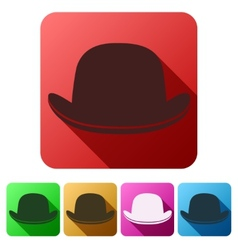 Set Flat icons of black gentleman bowler hat vector image