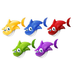 set many smiling cute shark cartoon character vector image