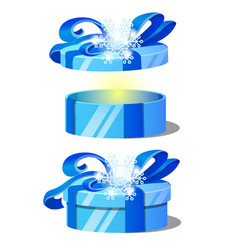 set of ornate gift boxes with blue lids decorated vector image