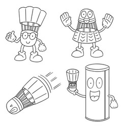set of shuttlecock vector image