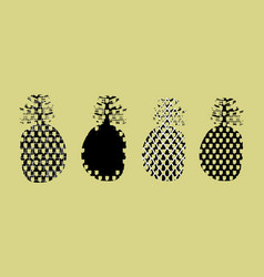 Set of stylized silhouettes of pineapple fruits in vector