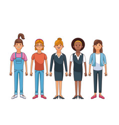 Set of young people vector