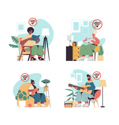 Set people spending time without gadgets digital vector